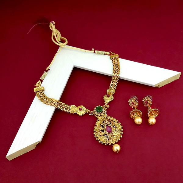 Kriaa Maroon And Green Austrian Stone Gold Plated Necklace Set - 1113905