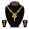 Kriaa Maroon And Green Austrian Stone Gold Plated Necklace Set - 1113906
