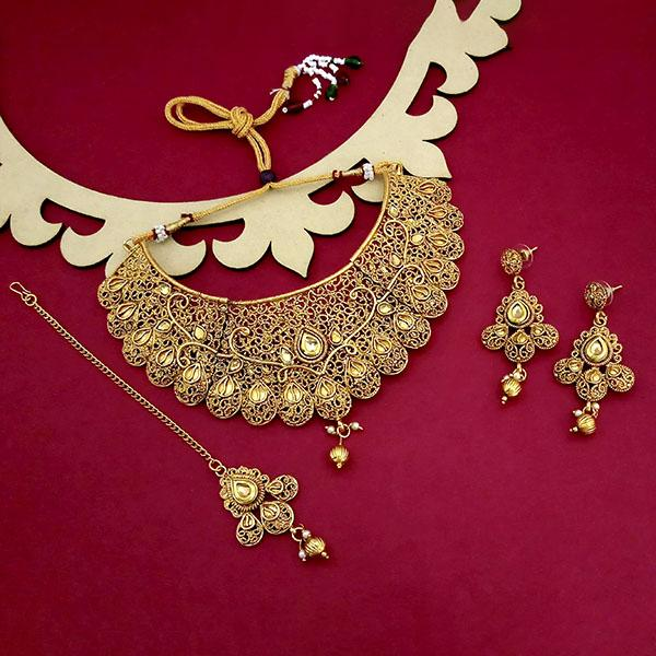 Kriaa Gold Plated Brown Austrian Stone Choker Necklace Sets - 1114001