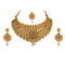 Kriaa Gold Plated Brown Austrian Stone Choker Necklace Sets - 1114002