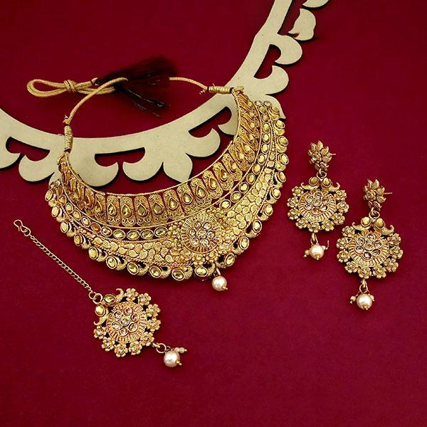 Native Haat Gold Plated Brown Austrian Stone Choker Necklace Sets - N1114002