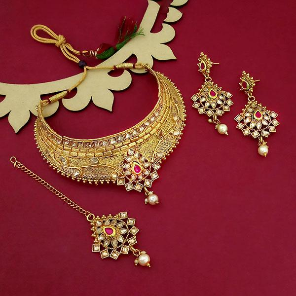Kriaa Gold Plated Brown Austrian Stone Choker Necklace Sets - 1114003B
