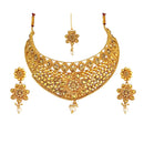 Kriaa Gold Plated Brown Austrian Stone Choker Necklace Sets - 1114005