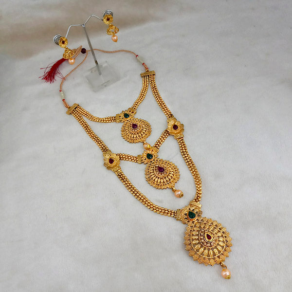 Kriaa Gold Plated Maroon And Green Stone Three layer Necklace Set - 1114009A