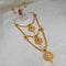Kriaa Gold Plated Maroon And Green Stone Three layer Necklace Set - 1114009B