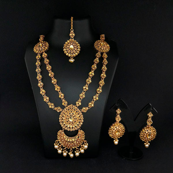 Kriaa Gold Plated Double Chain Stone Necklace Set -1114201A