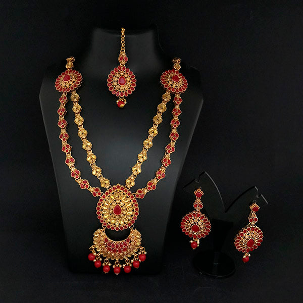 Kriaa Gold Plated Double Chain Red Stone Necklace Set -1114201B