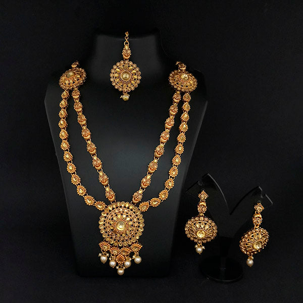 Kriaa Gold Plated Double Chain Stone Necklace Set -1114202A