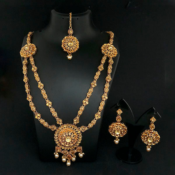 Kriaa Gold Plated Double Chain Stone Necklace Set -1114203A