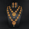 Sai Raj Double Gold Plated Multi Stones Necklace Set -1114301A- D