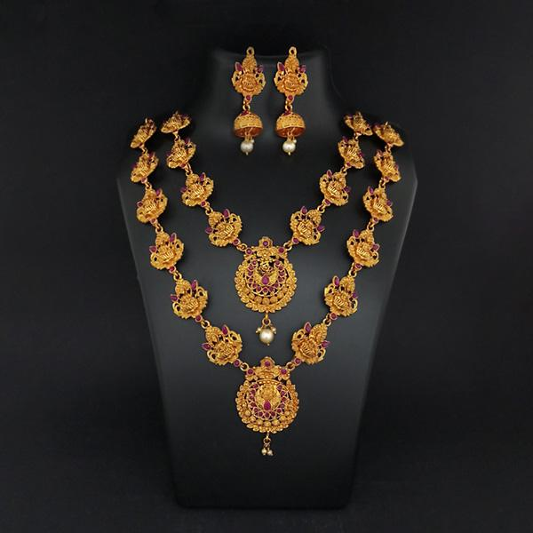 Sai Raj Double Gold Plated Multi Stones Necklace Set -1114303A