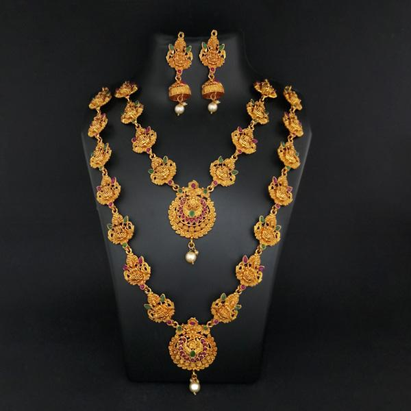 Sai Raj Double Gold Plated Multi Stones Necklace Set -1114303B