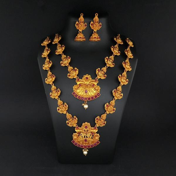 Sai Raj Double Gold Plated Multi Stones Necklace Set -1114304A