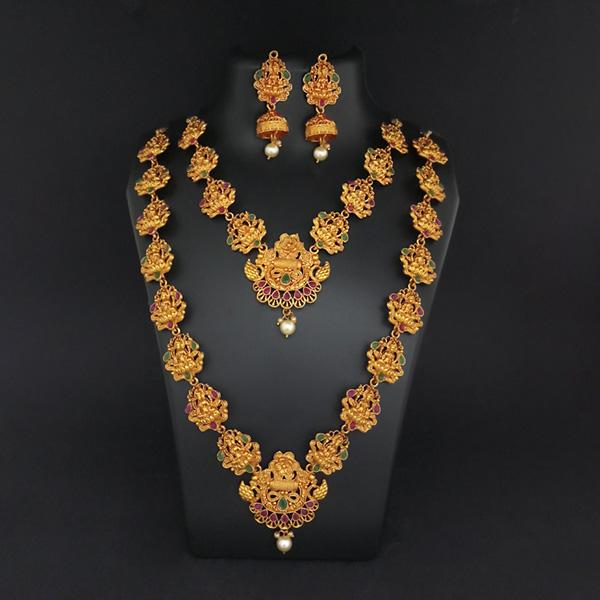 Sai Raj Double Gold Plated Multi Stones Necklace Set -1114305B