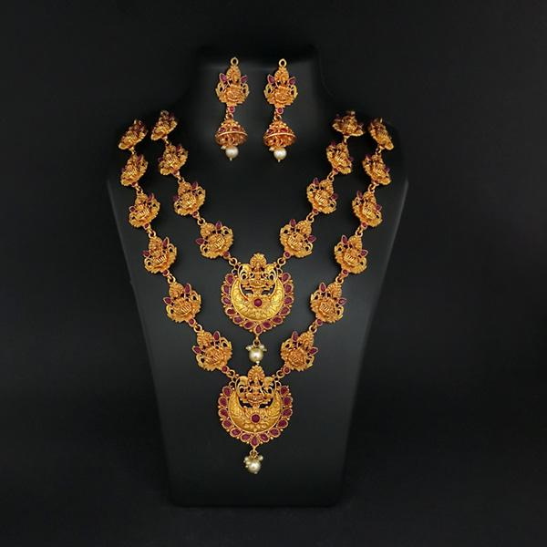 Sai Raj Double Gold Plated Multi Stones Necklace Set -1114306A
