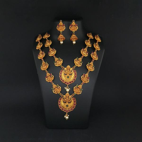 Sai Raj Double Gold Plated Multi Stones Necklace Set -1114306B