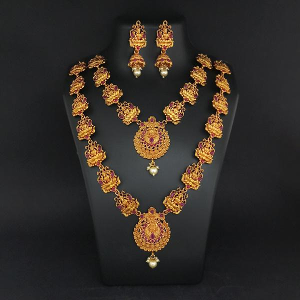 Sai Raj Double Gold Plated Multi Stones Necklace Set -1114307A
