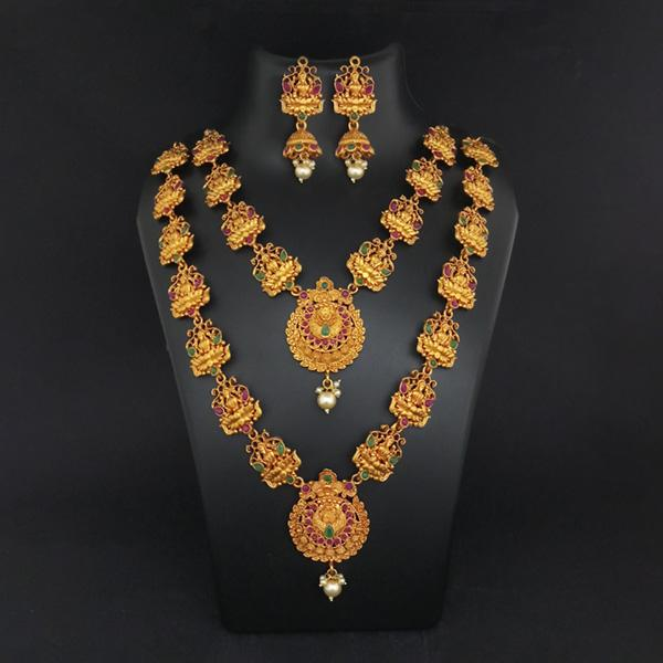 Sai Raj Double Gold Plated Multi Stones Necklace Set -1114307B