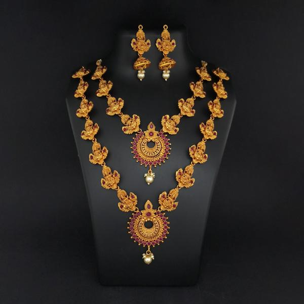 Sai Raj Double Gold Plated Multi Stones Necklace Set -1114308A