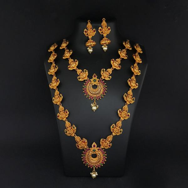 Sai Raj Double Gold Plated Multi Stones Necklace Set -1114308B