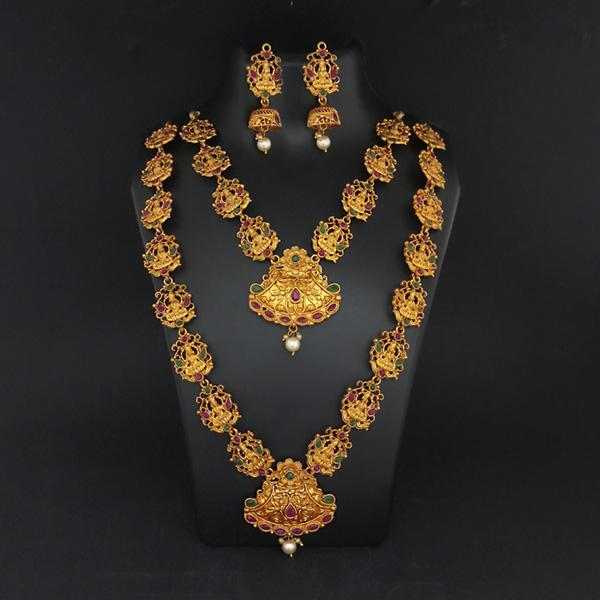 Sai Raj Double Gold Plated Multi Stones Necklace Set -1114311