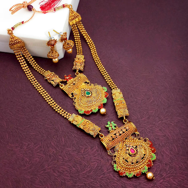 Sai Raj Double Gold Plated Multi Stones Necklace Set