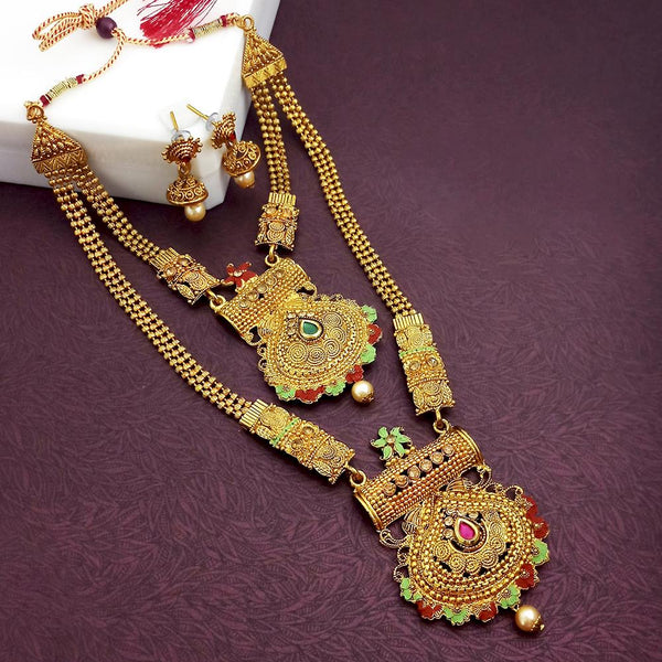 Sai Raj Double Gold Plated Multi Stones Necklace Set - 1114318-D