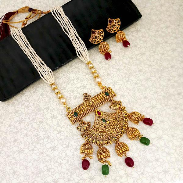 Kriaa Gold Plated Maroon And Green Stone And Pearl Long Haram Necklace Set - 1114401