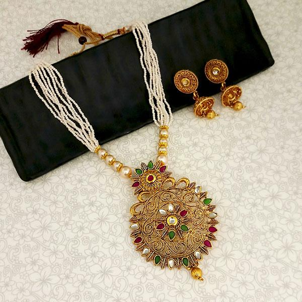Kriaa Gold Plated Maroon And Green Kundan And Pearl Long Haram Necklace Set - 1114402