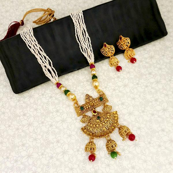 Kriaa Gold Plated Maroon And Green Stone And Pearl Long Haram Necklace Set - 1114403