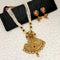 Kriaa Gold Plated Maroon And Green Stone And Pearl Long Haram Necklace Set - 1114404