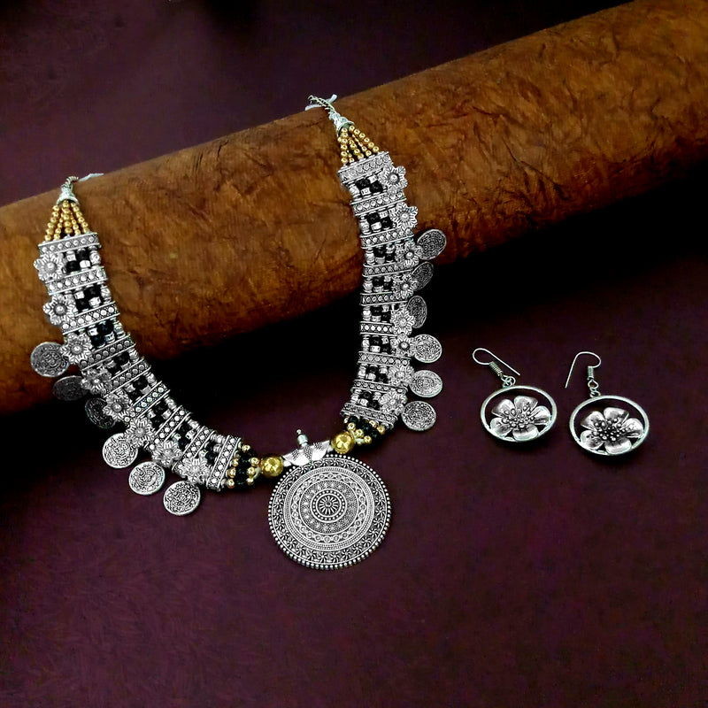 JewelJunk Oxidized Plated Necklace Set