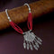 Native Haat Silver Plated Red Beaded Necklace - N1114521