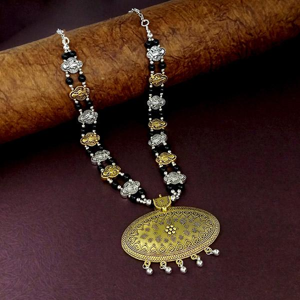 Native Haat Oxidised Plated Black Beaded Necklace - N1114525A
