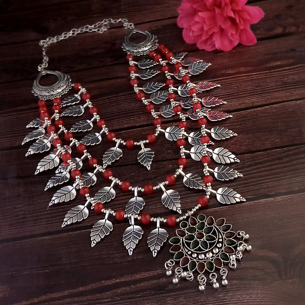 Jeweljunk Three Layer Oxidised Plated Red color Necklace