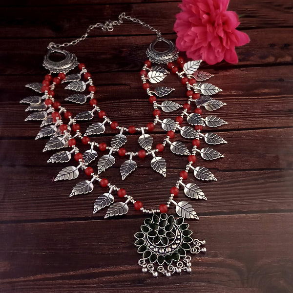 Jeweljunk Oxidised Plated Red color Three Layer Necklace