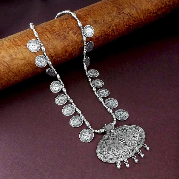 Native Haat Oxidised Plated Coins Long Necklace - N1114560