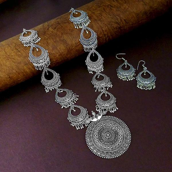 Native Haat Oxidised Plated Long Necklace - N1114565