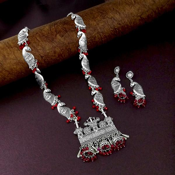 Native Haat Oxidised Plated Red Beaded Long Necklace - N1114567