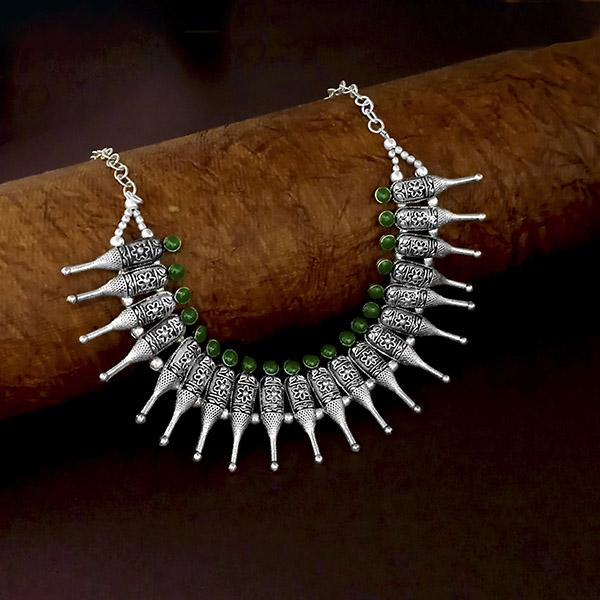 Native Haat Oxidised Plated Green Color Necklace - N1114572A