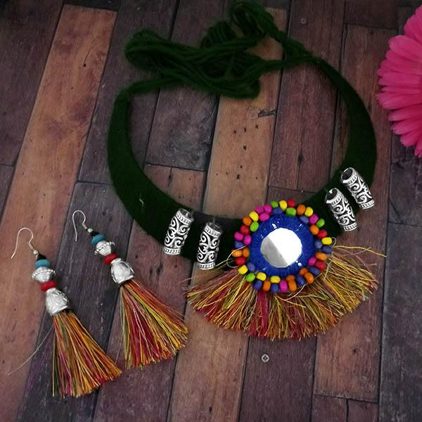 Native Haat Oxidised Green Thread Choker Necklace Set - N1114606C