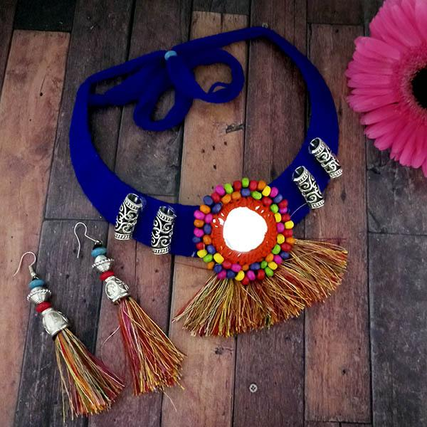 Native Haat Oxidised Blue Thread Choker Necklace Set - N1114606D