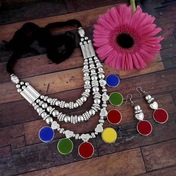 Jeweljunk Oxidised Plated Multicolor Three Layer Necklace Set - 1114607
