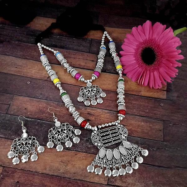 Jeweljunk Oxidised Plated Multicolor Two Layer Necklace Set - 1114608