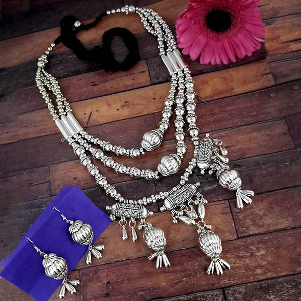 Jeweljunk Oxidised Plated Three Layer Necklace Set - 1114609