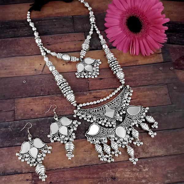 Jeweljunk Oxidised Plated Two Layer Necklace Set - 1114611