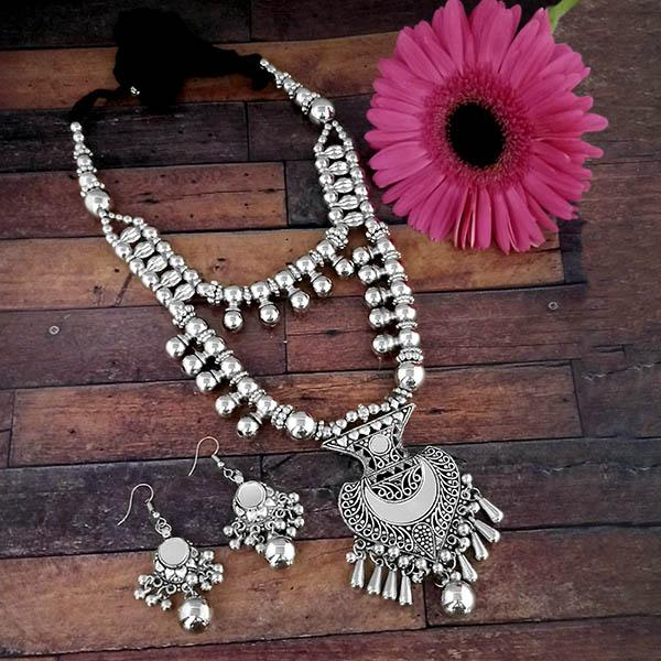 Jeweljunk Oxidised Plated Two Layer Necklace Set - 1114613