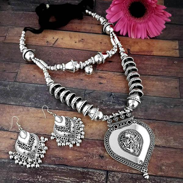 Jeweljunk Oxidised Plated Two Layer Necklace Set - 1114614