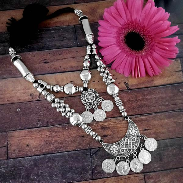 Jeweljunk Oxidised Plated Two Layer Necklace Set - 1114616