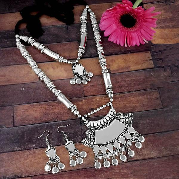 Jeweljunk Oxidised Plated Two Layer Necklace Set - 1114618